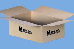 Cardboard box with M-Line logo